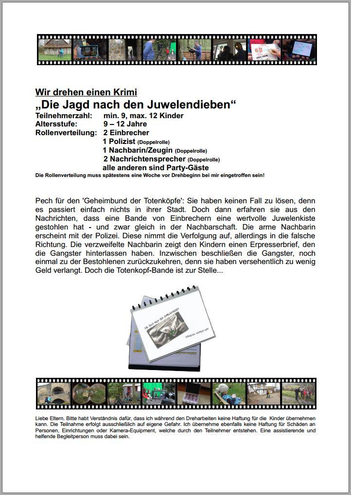 """Drehbuch """"Die Jagd nach den Juwelendieben"""" - Inhalt und Rollenverteilung"""