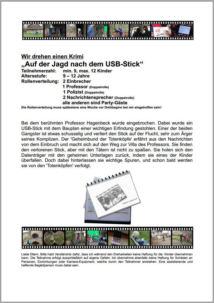 """Drehbuch """"Auf der Jagd nach dem USB Stick"""" - Inhalt und Rollenverteilung"""