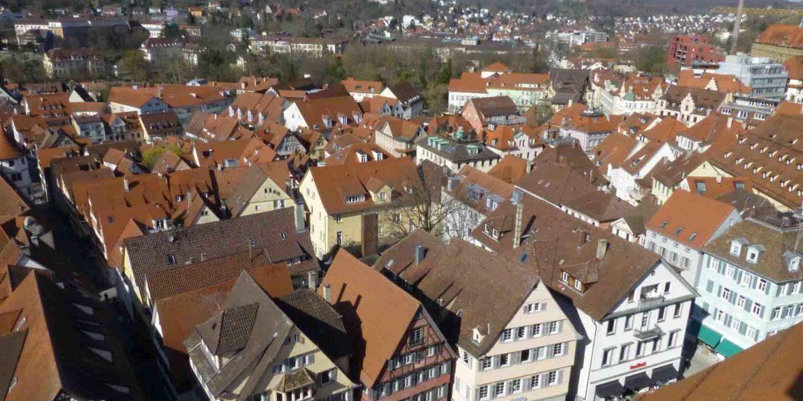 Marktplatz von Tübingen aus der Vogelperspektive